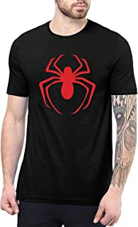 Black Mens Superhero Shirts - Spider Graphic Tees for Men