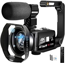 4K Camcorder Video Camera Ultra HD Wi-Fi Vlogging Camera 48.0MP 16X Digital Zoom Camcorders with IR Night Vision &Micropho...