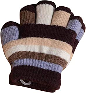 Winter Warm Mittens for Kids, Colorful Five-Finger Gloves(2-6 Years Old), E06