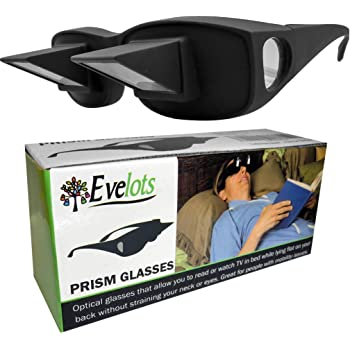 Evelots Prism Bed Glasses-Read/Watch TV Lying Down-Use Over Your Glasses-Unisex