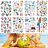 Temporary Tattoos for Women Men Adults Kids Boys Girls Arm Hand Leg Shoulder Back Chest Abdomen Waterproof Tattoo Stickers 8 Sheets Safe for All Skin Flower Bird Parrot Bear Deer Butterfly Flamingo