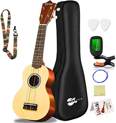 Everjoys Soprano Ukulele Beginner Pack-21 Inch w/Rainbow String Free Online Lesson Gig Bag Fast Learn Songbook Digita...