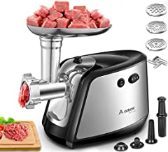 Electric Meat Grinder, Aobosi 3-IN-1 Meat Mincer & Sausage Stuffer,?1200W Max?Sausage & Kubbe Kits Included, 3 Grinding Plates,Dual Safety Switch, Stainless Steel Housing