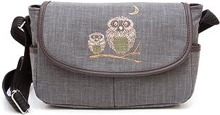 [creareきき] 墨/備長炭染 ショルダーバッグ レディース[フラップショルダー]ふくろう刺繍 日本製
