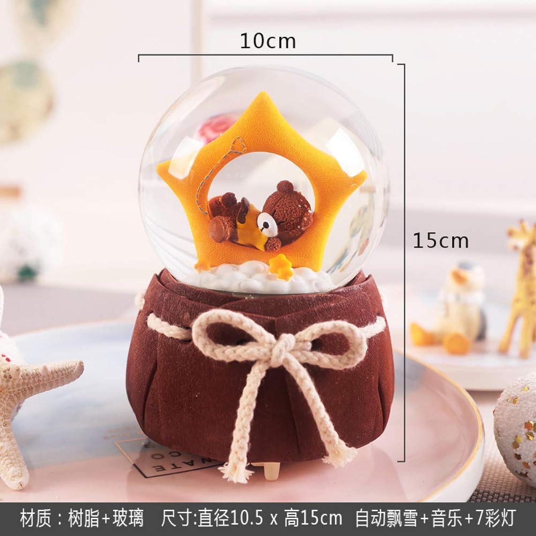 THEALEEWIN Br Ornamente Kristallkugel Spieluhr Jungen Und MdchenSchnes Geschenk Mit SchneeflockenLeuchtende