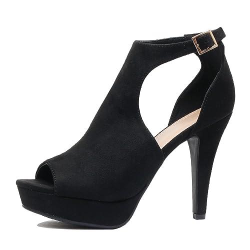 f8ed4f5e667 Guilty Shoes Womens Cutout Gladiator Ankle Strap Platform Block Heel  Stiletto Sandals