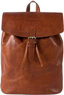 HOLZRICHTER Berlin Rucksack No 2-3 M aus echtem Leder - Premium Daypack im Vintage-Look für Damen & Herren - Cognac-Braun