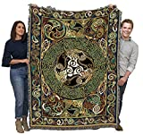 Pure Country Weavers Ravens Panel by Jen Delyth - Celtic Design Blanket Throw Woven from Cotton - Made in The USA (72x54)