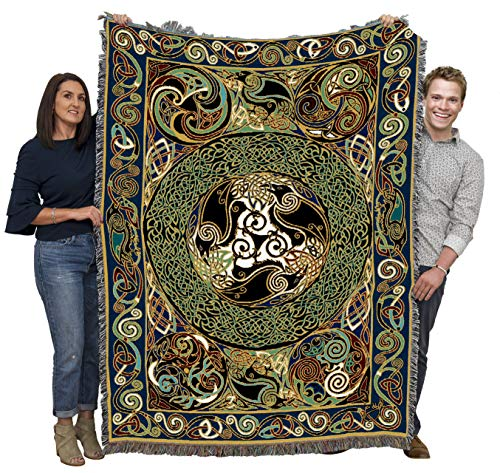 Ravens Panel - Jen Delyth - Blanket Throw Woven from Cotton - Made in The USA (72x54)