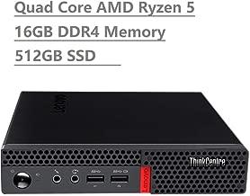2019 Lenovo Thinkcentre M715q Business Mini Tiny Desktop (AMD Ryzen 5 Pro 2400GE Quad Core 3.8GHz, 16GB DDR4 RAM, 512GB SATA SSD) WiFi AC, Bluetooth, DisplayPort, RJ-45, Windows 10 Pro 64-Bit