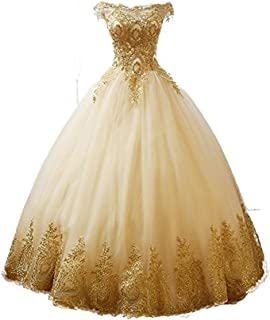 Meijia Handicraft Gold Lace Applique Quinceanera Dresses Prom Bateau Ball Gown