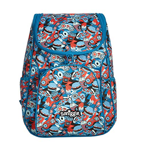 Smiggle Illusion Kids School Backpack for Boys & Girls with Padded Laptop Compartment & Dual Drink Bottle Sleeves |Food Print