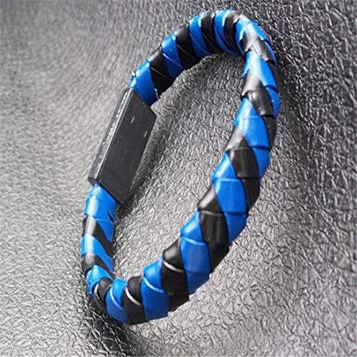 DASHUAIGE Braccialetto UsbBraccialetto Creativo in Pelle Portatile Cavo Dati USB Linea di RicaricaBraccialetti da Uomo per Tessituraper iPhone/per Android/per Tipo c