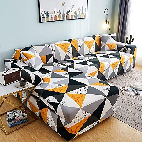 WXQY Sala de Estar geométrica en Forma de L Funda de sofá de Esquina elástica Antideslizante Funda de sofá combinación protección para Mascotas Funda de sofá A15 1 Plaza