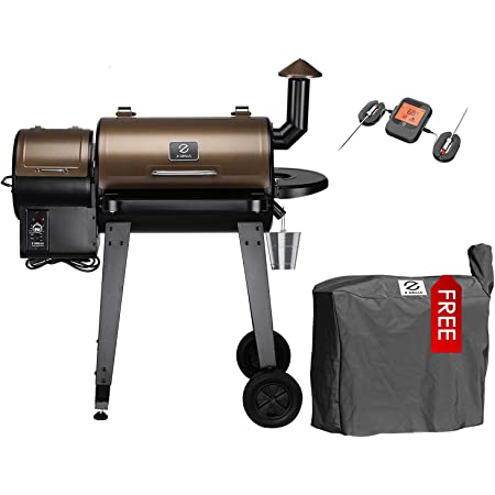Z GRILLS ZPG-450APRO Wood Pellet Grill Smoker for Outdoor Cooking with Wireless Meat Probe Thermometer, 2021 Upgrade, 8-in-1 & Pid Controller