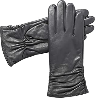 Womens Winter Genuine Leather Gloves - Acdyion Luxury Touchscreen Warm Soft Driving Cashmere Lined Gloves