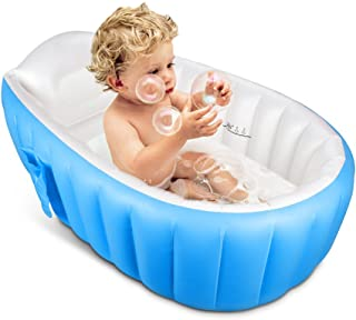 TOPIST Baby Inflatable Bathtub, Portable Mini Air Swimming Pool Kid Infant Toddler Thick Foldable Shower Basin with Soft Cushion Central Seat (Blue)