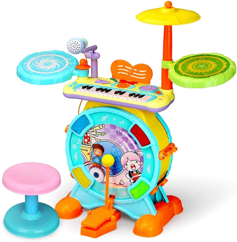 LIPENG-TOY Mnnliche und weibliche Baby-Tastatur-Trommel-Spielzeug-Kind-Musik-Instrument 1-3-6 Jahre alte Anfnger Jazz-Trommel (Farbe   Blau)