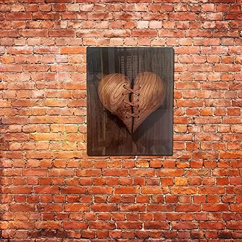 SpiceRack Decoración de Pared con Forma de corazón Roto, Estilo de Cuero acrílico Creativo Cosido con Escultura de Pared de corazón Roto, Adornos de Pared de desamor novedosos para la Decora