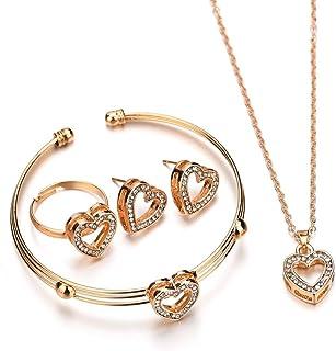 4pcs Women Bridal Elegant Jewelry Set, Rhinestone Shimmer Heart-Shaped Necklace Earrings Bracelet Ring