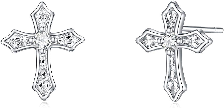 925 Sterling Silver Cross Gifts Earrings Teen Girls for New Free Shipping Women