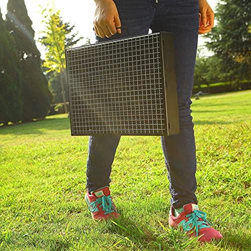 6100bVyTyfS. SL500  - Jiaojie Holzkohlegrill für den Haushalt, zusammenklappbar, tragbar, Einweggrill, für den Außenbereich, schwarzer Stahlofen