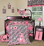 Pink Zebra 13 PCS Crib Nursery Bedding Set - by Sisi Baby Designs