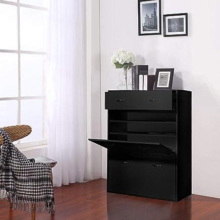 Vogue Shoe Cabinet, Black - H 1060 mm x W 800 mm x D 395 mm