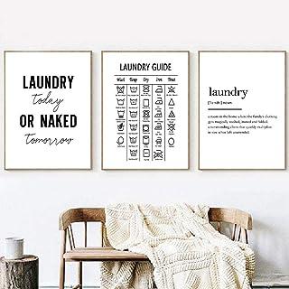 FDONTR Symboles de blanchisserie Guide Affiches et Impressions Soins de blanchisserie Toile Art Noir et Blanc Peinture Pho...