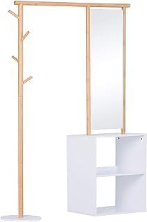 Porte-manteaux meuble d'entrée vestiaire penderie avec miroir 4 patères 2 niches dim. 100L x 34l x 164H cm MDF blanc bois ...