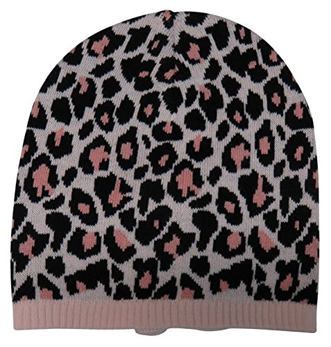 Kate Spade Women's Cheetah Knit Bow Beanie Hat, Pastry Pink/Rose