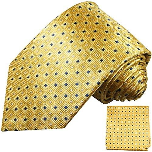 Cravate homme or jaune carreaux ensemble de cravate 2 Pièces (longueur 165cm)