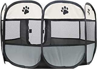Portable Foldable Pet Dog Cat Playpen Crates Kennel Playpen Tent House Playground, Indoor and Outdoor Use, Gray and White ...