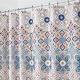 mDesign cortina de baño antimoho - Cortina ducha con 12 agujeros reforzados para un fácil montaje - Cortina bañera impermeable color marrón