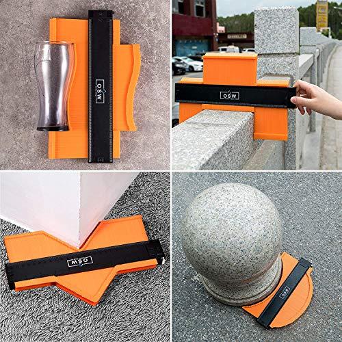 OSW Contour Gauge with Lock Contour Gauge Profile Tool 10 Inch Adjustable Lock Contour Duplication Gauge Precisely Copy Irregular Contour Gauge Duplicator Plastic Shape Tracing Measuring Tool