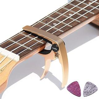 BestSounds ウクレレ用カポタスト ソプラノ 、コンサート用カポ ワンタッチ 長期品質保証 かわいいカポタスト ukulele capo ウールピック付き(ローズゴールド)