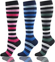 (S/M, Mix2, 3 Pairs) - HLTPRO Compression Socks for Men & Women 20-25 mmHg - 3 to 6 Pairs Graduated Compression Stockings Best for Running, Nurses, Shin Splints, Flight Travel & Maternity Pregnancy