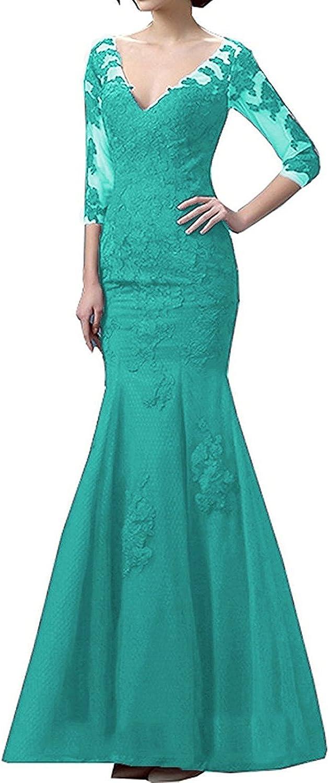 LL Bridal Women's 3 4 Sleeve Mermaid Evening Dresses Long Prom Formal Gown 2018 LLAP173