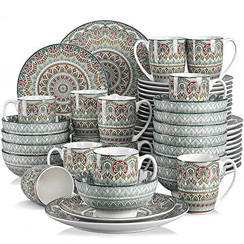 Vancasso Tafelservice Porzellan, Mandala 48 teiliges Essgeschirr Kombiservice, handbemaltes Geschirrset für 12 Personen, böhmischer Stil