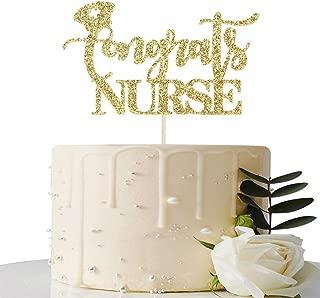 Gold Glitter Congrats Nurse Cake Topper - Nurse Graduation Party Decorative Supplies - 2019 Graduation Party Decorations - Congrats Grad Party Decorative Supplies