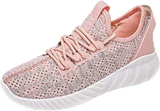 Qootent Women's Athletic Shoes Mesh Walking Shoes Breathable Lace up Sneakers