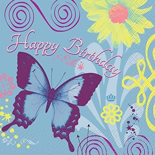 Butterfly Birthday Luncheon Napkins (16-pack) by Unique Industries