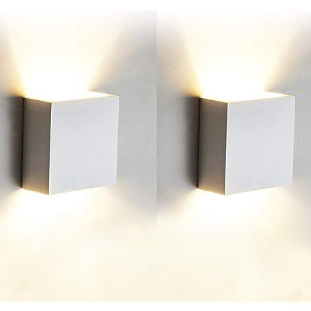 12W Moderne Applique Murale Interieur, 2 Pcs Aluminium Led Lampe Murale Blanc Chaud 3000K Appareils d'éclairage pour le Salon, Chambre, Salle de Bains, Cuisine, Salle à manger