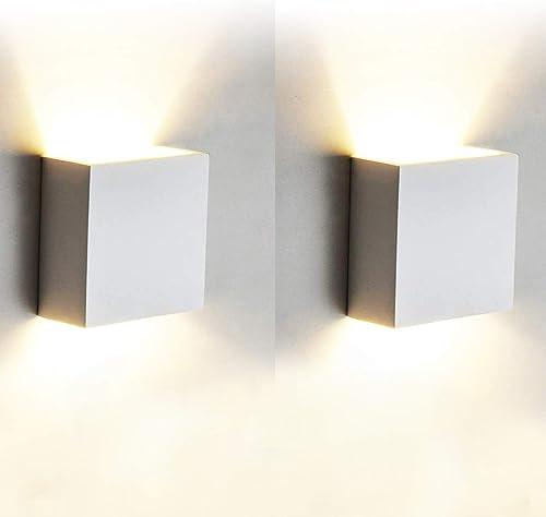 12W Moderne Applique Murale Interieur, 2 Pcs Aluminium Led Lampe Murale Blanc Chaud 3000K Appareils d'éclairage pour ...