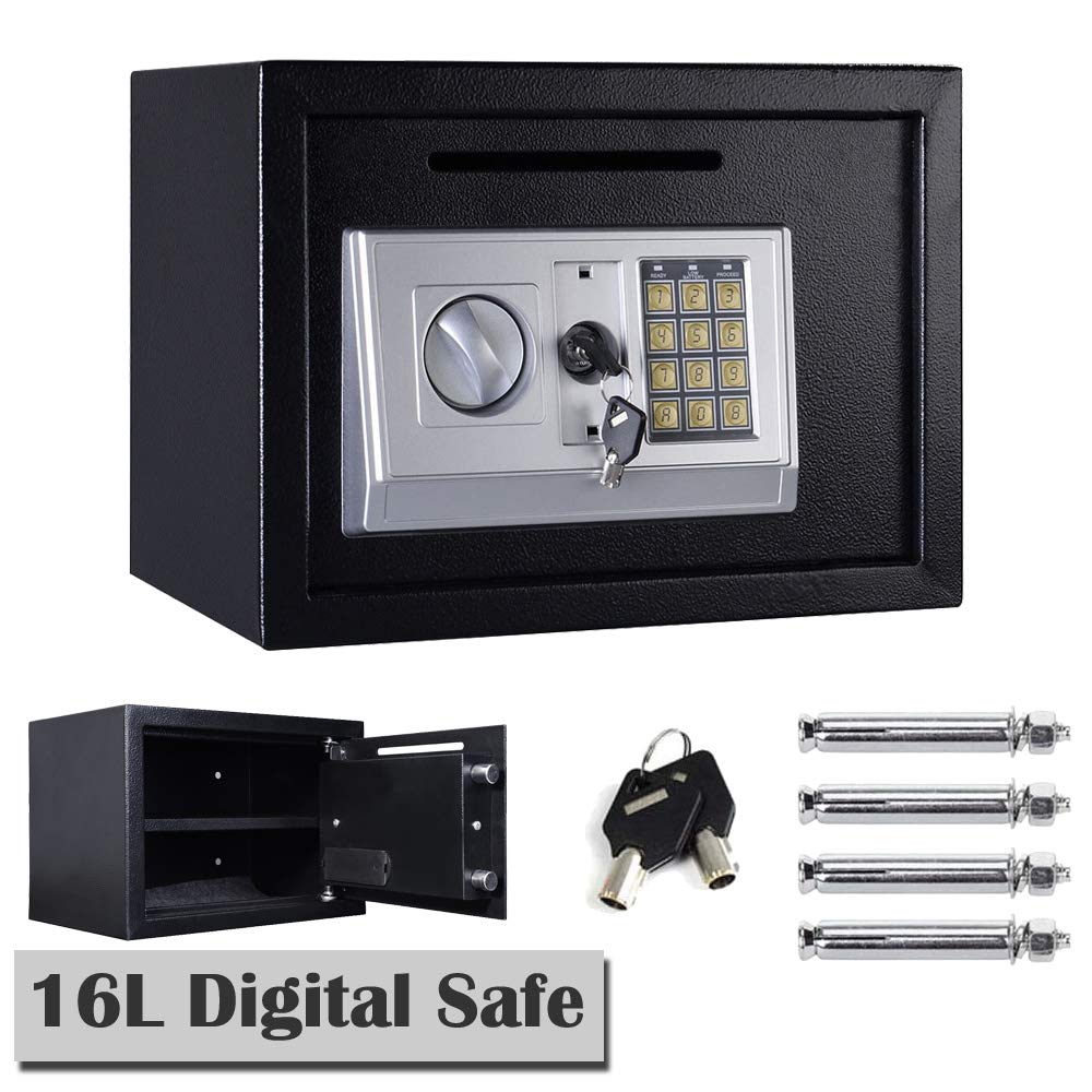 Caja Fuerte electrónica Digital de Acero Negro con contraseña de Seguridad para Dinero, Dinero, Joyas, Caja de Seguridad, Oficina o Hotel (25 x 35 x 25 cm), Color Negro: Amazon.es: Bricolaje y herramientas
