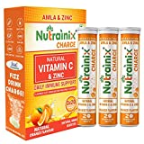 Nutrainix Charge Vitamin C Antioxidant 1000 Mg With Natural Vitamin C & Zinc - 60 Effervescent Tablets - Orange Flavour | Immunity Booster | Antioxidant (Pack of 3)