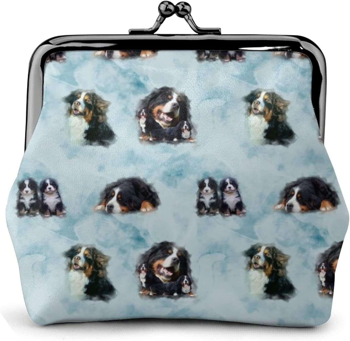 Bernese Watercolour 492 Leather Coin Purse Kiss Lock Change Pouch Vintage Clasp Closure Buckle Wallet Small Women Gift