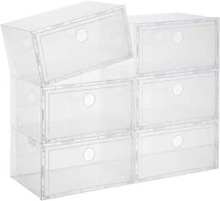 CNCEST Foldable Shoe Box 20Pcs Stackable Clear Drawer Plastic Shoe Storage Box Storage Bins Shoe Container Organizer Transparent for Shoe Collection Display