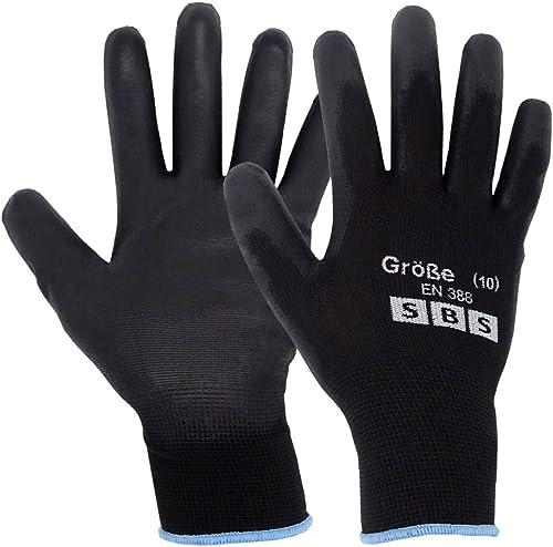 24 pares de guantes de trabajo de nailon negro con palma de poliuretano guantes de trabajo de manejo general mec/ánicos constructores 1 S-7 jardiner/ía