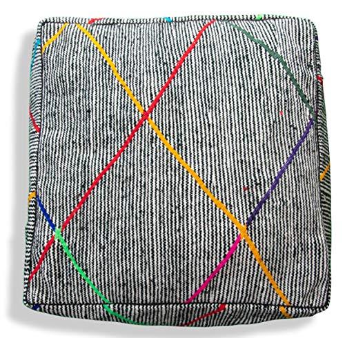 Berber Kilim Pouffe Handgemaakt - 100% wol en katoen - Ottomaans, voetenbank, vloerkussen, Marokkaanse poef